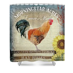Shower Curtain featuring the painting Farm Fresh Barnyard Rooster Morning Sunflower Rustic by Audrey Jeanne Roberts