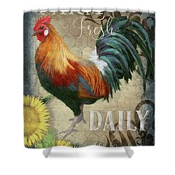 Shower Curtain featuring the painting Farm Fresh Daily Red Rooster Sunflower Farmhouse Chic by Audrey Jeanne Roberts