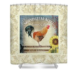 Shower Curtain featuring the painting Farm Fresh Damask Barnyard Rooster Sunflower Square by Audrey Jeanne Roberts