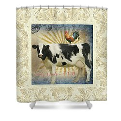 Shower Curtain featuring the painting Farm Fresh Damask Milk Cow Red Rooster Sunburst Family N Friends by Audrey Jeanne Roberts