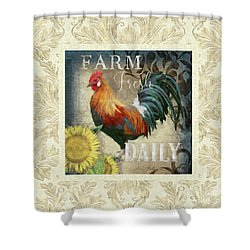 Shower Curtain featuring the painting Farm Fresh Damask Red Rooster Sunflower by Audrey Jeanne Roberts