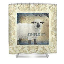 Shower Curtain featuring the painting Farm Fresh Damask Sheep Lamb Simplicity Square by Audrey Jeanne Roberts