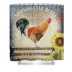 Shower Curtain featuring the painting Farm Fresh Morning Rooster Sunflowers Farmhouse Country Chic by Audrey Jeanne Roberts