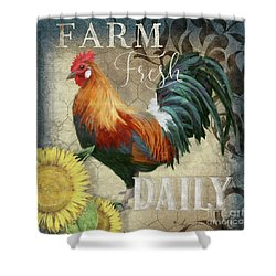 Shower Curtain featuring the painting Farm Fresh Red Rooster Sunflower Rustic Country by Audrey Jeanne Roberts