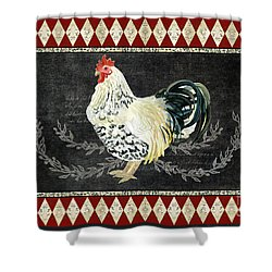 Farm Fresh Rooster 3 - On Chalkboard W Diamond Pattern Border Shower Curtain by Audrey Jeanne Roberts