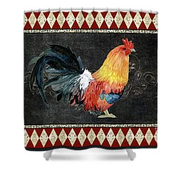 Farm Fresh Rooster 4 - On Chalkboard W Diamond Pattern Border Shower Curtain by Audrey Jeanne Roberts