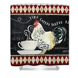 Shower Curtain featuring the painting Farm Fresh Rooster 5 - Coffee Served Chalkboard Cappuccino Cafe Latte  by Audrey Jeanne Roberts