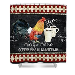 Shower Curtain featuring the painting Farm Fresh Rooster 6 - Coffee Bean Roasterie French Roast by Audrey Jeanne Roberts