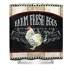 Farm Fresh Roosters 1 - Fresh Eggs Typography Shower Curtain by Audrey Jeanne Roberts