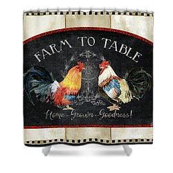 Farm Fresh Roosters 2 - Farm To Table Chalkboard Shower Curtain by Audrey Jeanne Roberts
