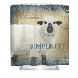 Shower Curtain featuring the painting Farm Fresh Sheep Lamb Simplicity Square by Audrey Jeanne Roberts