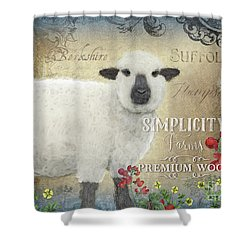Shower Curtain featuring the painting Farm Fresh Sheep Lamb Wool Farmhouse Chic  by Audrey Jeanne Roberts