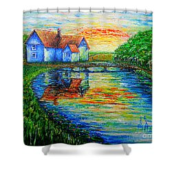 Farm House Shower Curtain by Viktor Lazarev