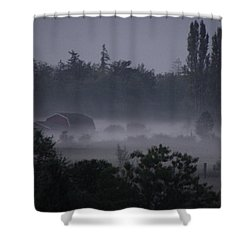 Farm In Fog Shower Curtain