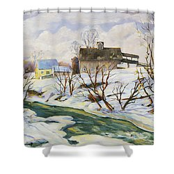 Farm In Winter Shower Curtain by Richard T Pranke