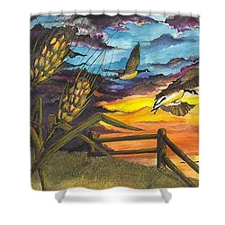 Shower Curtain featuring the painting Farm Sunset by Darren Cannell