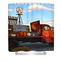 Farm With Red Truck In Fall  Shower Curtain