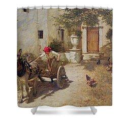 Farm Yard Scene Shower Curtain by Henry Herbert La Thangue