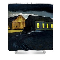 Farm Yard With Moonlight And Rain Shower Curtain