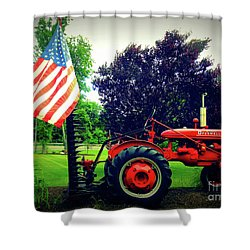 Farmall And Flag Shower Curtain