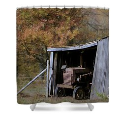 Shower Curtain featuring the photograph Farmall Tucked Away by Benanne Stiens