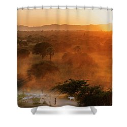Farmer Returning To Village In The Evening Shower Curtain