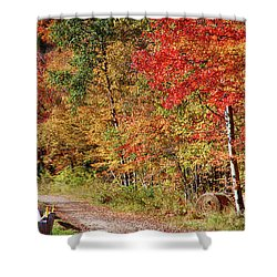 Shower Curtain featuring the photograph Farmers Path Of Fall Colors by Jeff Folger