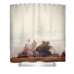 Shower Curtain featuring the photograph Farmhouse And Windmill by Jill Battaglia