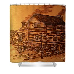 Shower Curtain featuring the pyrography Farmhouse by Denise Tomasura