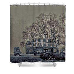 Farmhouse In Morning Fog Shower Curtain