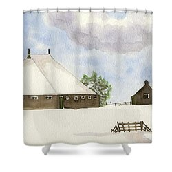 Shower Curtain featuring the painting Farmhouse In The Snow by Annemeet Hasidi- van der Leij