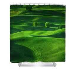 Farmhouse In The Waves Of Light Shower Curtain by Don Schwartz