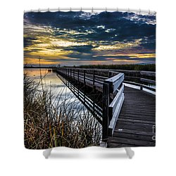 Shower Curtain featuring the photograph Farmington Bay Sunset - Great Salt Lake by Gary Whitton