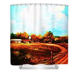 Farmland In Autumn Shower Curtain