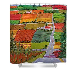 Country Farmland Quilt Shower Curtain