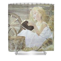 Farm's Reader Shower Curtain by Annie Poitras