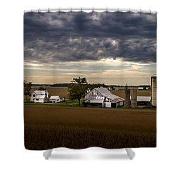 Farmstead Under Clouds Shower Curtain