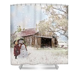 Farmstyle Snowman Shower Curtain by Mary Timman