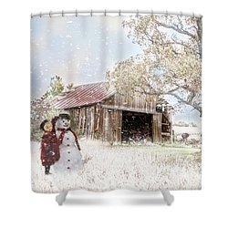 Farmstyle Snowman Shower Curtain