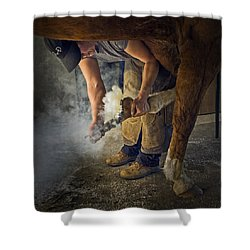 Farrier Visit - 365-46 Shower Curtain by Inge Riis McDonald