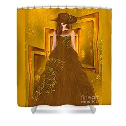 Shower Curtain featuring the digital art Fashion Design Art - Autumn Ball Gown By Rgiada by Giada Rossi