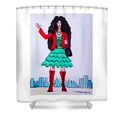Fashionist Hailing A Taxi Shower Curtain by Don Pedro De Gracia