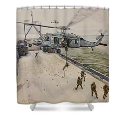 Shower Curtain featuring the painting Fast Rope by Stan Tenney