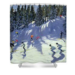 Fast Run Shower Curtain by Andrew Macara