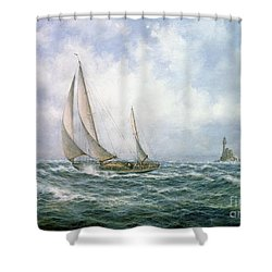 Fastnet Abeam Shower Curtain by Richard Willis
