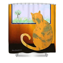 Fat Cat At Her Window Shower Curtain