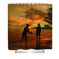 Father And Son Fishing Shower Curtain by Rob Corsetti