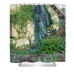 Father Junipero Serra Statue At Mission Carmel Shower Curtain