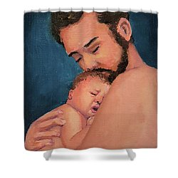 Fatherhood Shower Curtain by Janet Garcia