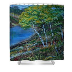Shower Curtain featuring the painting Favorite Fishin' Hole by Leslie Allen